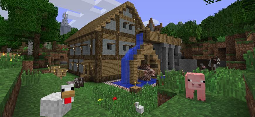 Домик, построенный в игре Minecraft и животные рядом с ним.